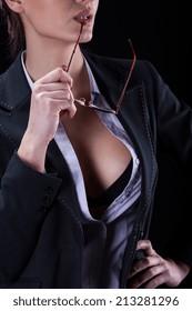 Attractive confident businesswoman with huge neck