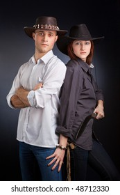 Attractive Couple against a Black Background