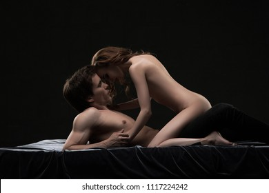 Attractive couple having sexual intercourse