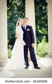 Attractive couple on their wedding day