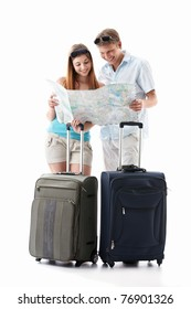 An attractive couple with their suitcases looking card is isolated