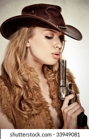 An attractive cowgirl