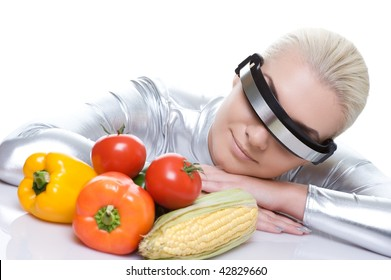 Attractive cyber woman with different vegetables