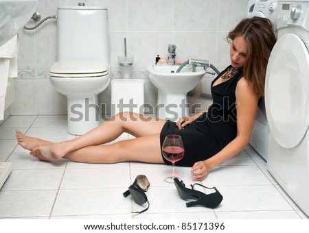 attractive drunk woman her bathroom glass stock photo edit now rh shutterstock com drunk guy in bathroom remix drunk guy in bathroom