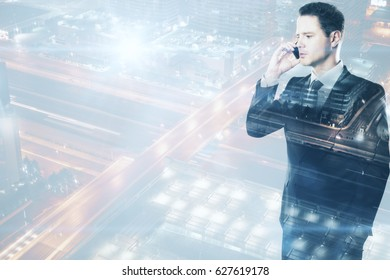 Attractive european guy talking on the phone on abstract city background with copy space. Communication concept. Double exposure