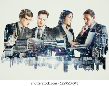 Attractive european team working on night city white background. Teamwork and network concept. Double exposure
