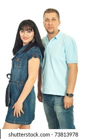 Attractive fashionable mid adult couple in casual clothes isolated on white background
