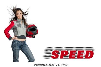 Attractive female biker with fly-away hair, dressed in jacket and holding red motorbike helmet. Studio shot isolated on white background with copyspace
