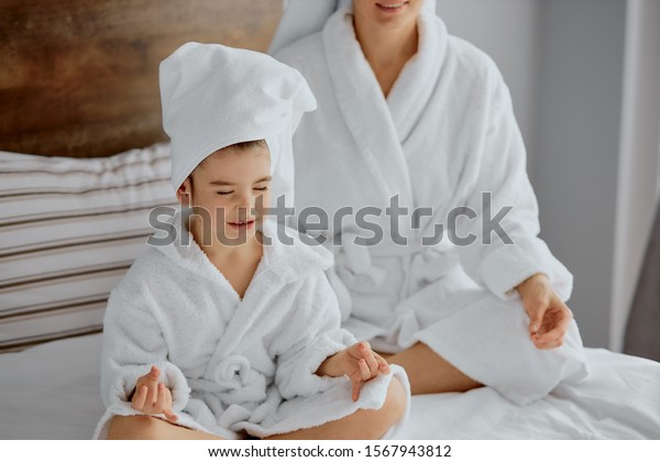 Attractive Female Child Meditate After Shower Stock Photo Edit Now 1567943812