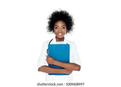 attractive female doctor with clipboard isolated on white