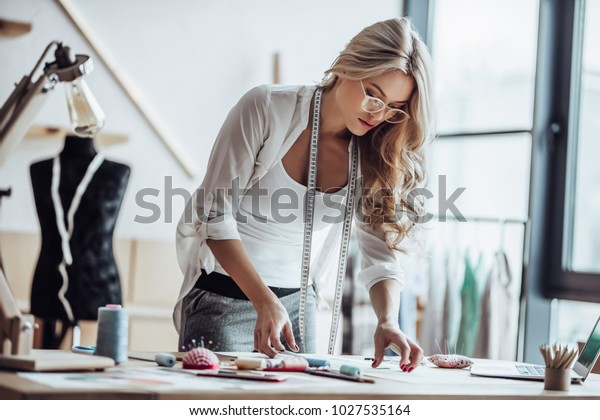 Attractive Female Fashion Designer Working Her Stock Photo Edit Now 1027535164