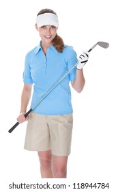 Attractive female golfer in golf clothing with a golf club isolated on white