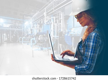 Attractive female industrial engineer with laptop inspect modern industrial gas boiler room. Heating gas boilers, pipelines, valves. Mixed media with copy space. Caucasoid race