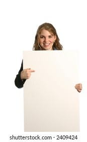 attractive female model giving presentation with blank board