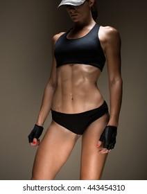 attractive fitness woman, trained female body, lifestyle portrait, caucasian model