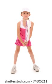 Attractive girl child playing tennis in pink uniform over white background with clipping path.