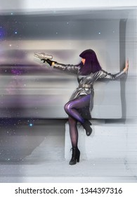 Attractive girl in futuristic clothes on a cosmic background