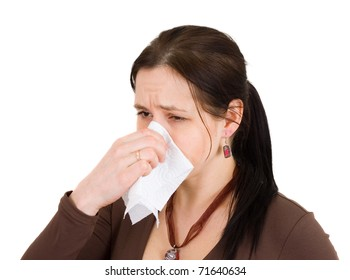 Attractive girl got a cold. All on white background