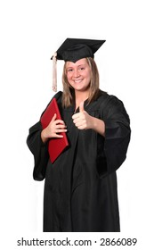 Attractive girl in a graduation gown, graduating from college