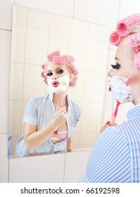 Attractive girl is having a shave, similar available in my portfolio