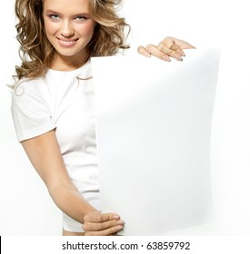 attractive girl holding white page