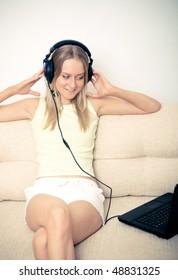 attractive girl listening music