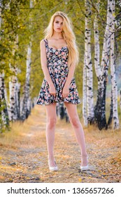 An attractive girl with long hair in a short dress and heels walks in the Park.
