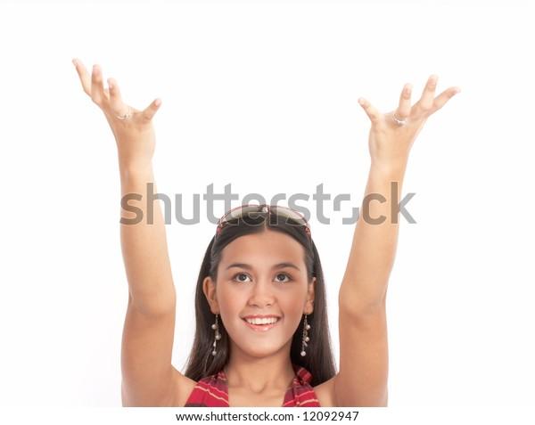 attractive girl looking up - hands up