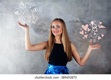 attractive girl  makes a choice between love, family, wedding rings hearts stroller children motherhood femininity or vs money, dollar, euro, skeytch, drawing, diagram, business, career, job selection