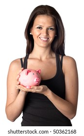 Attractive girl with money box a over white background