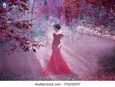 Attractive girl in a red dress. Walk in the fairy forest. Artistic Photography