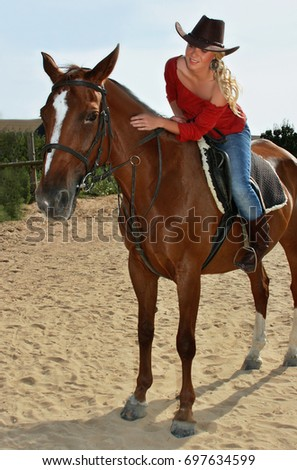 b9cc93376 Attractive Girl Sitting On Brown Horse Stock Photo (Edit Now ...