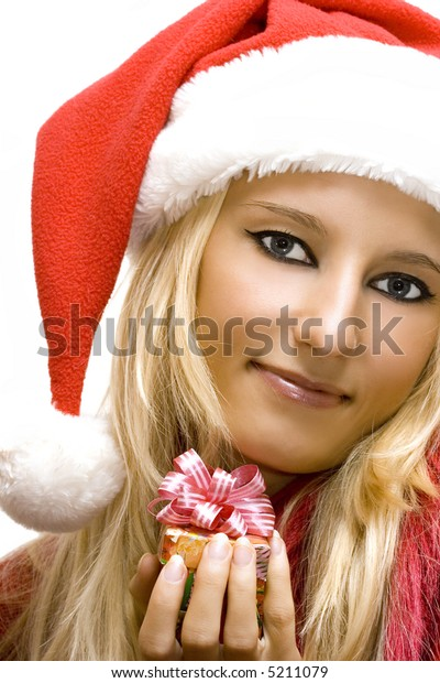 Attractive girl wearing santa claus hat isolated on white (Christmas conception)