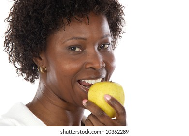 Attractive girl whit an apple a over white background