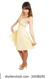 attractive girl in yellow dress. isolated on white
