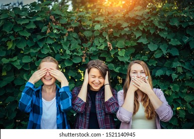 Attractive girls fool around and laugh on a summer day in the park. Three women cover their ears, eyes, and mouth on the natural background.