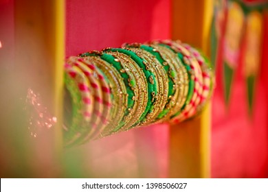 Attractive Golden Glass Bangles in Indian Traditional Day Decoration Bracelets - Shutterstock ID 1398506027