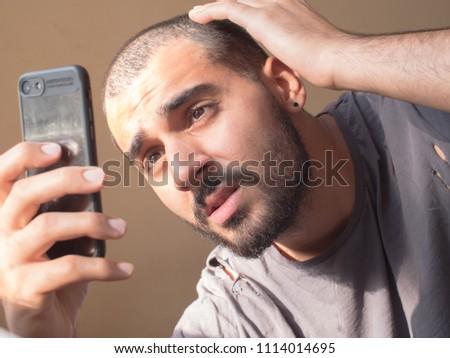 Attractive Guy Short Hair Checks His Stock Photo (Edit Now ...