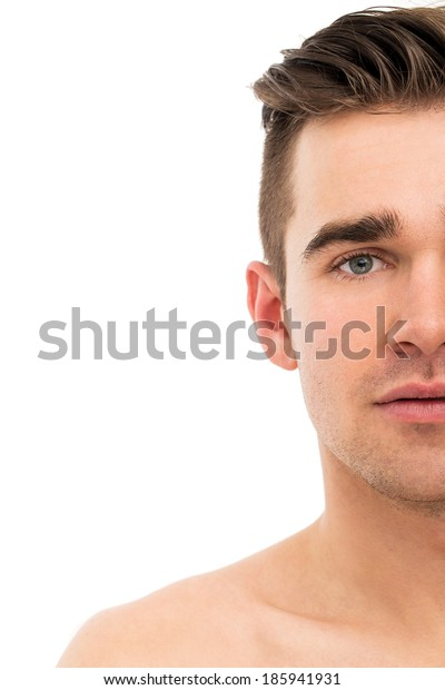 Attractive, handsome man on a white background