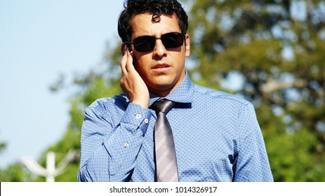 Attractive Handsome Security Guard Fbi Agent Wearing Sunglasses
