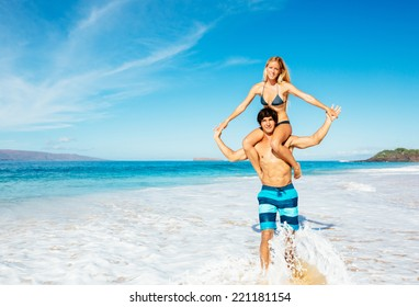 Attractive Happy Couple On Beautiful Sunny Beach