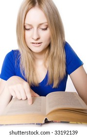 an attractive happy reading a book