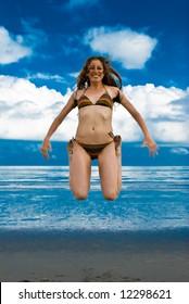 attractive happy teen on the beach
