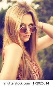 attractive hippie girl