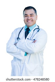 Attractive Hispanic Male Doctor or Nurse Isolated on a White Background.
