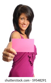 attractive hispanic woman holding bright index cards on a white background