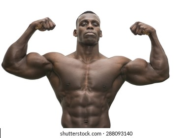 105105ffcb Attractive hunky black male bodybuilder doing bodybuilding pose on white  background