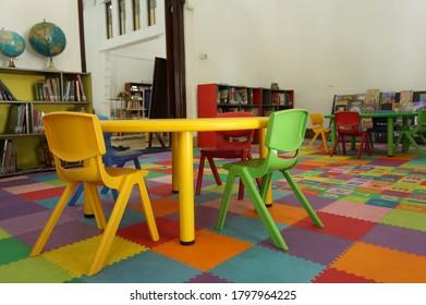 attractive interior design interior children's play area in the room in Bank Mandiri library building on Jalan Darmo, Surabaya, East Java, Indonesia (surabaya, september 9 2019)