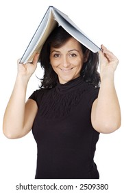 attractive lady with a book in the head a over white background