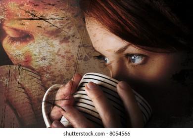Attractive lady drinking hot beverage. Short DOF. Sharp striking eyes. Light background